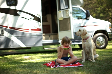 Class C Motorhome Child and Dog