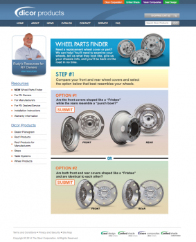Dicor Wheel Finder webpage