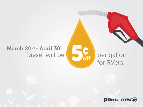 Save 5¢ per gallon of diesel with your Pilot Flying J RV loyalty card.
