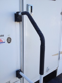 RV grab handle with bandage wrap