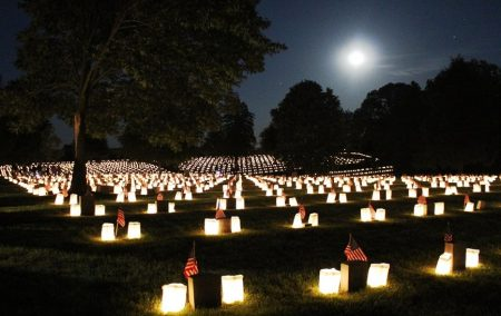Fredericksburg National Cemetery during annual illumination program